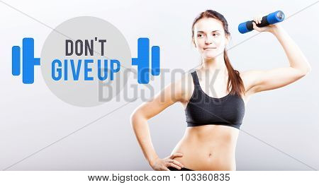 Dont Give Up Slim Woman With Dumbbell