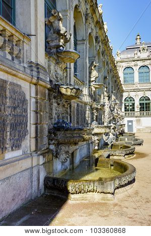 Sculptures And Fountains In Zwinger