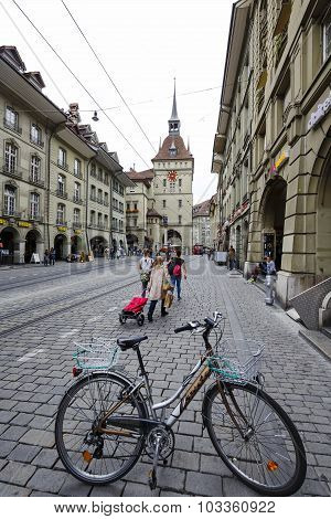 Someone Parked Bicycle On The Street Of Bern