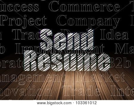 Business concept: Send Resume in grunge dark room