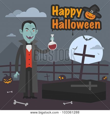Illustration Halloween Dracula holds tube of blood