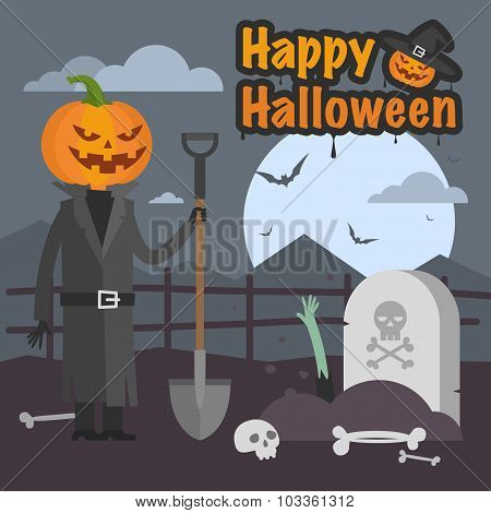 Illustration Halloween pumpkin holding a shovel and smiling