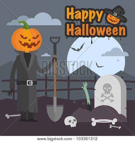 Illustration Halloween pumpkin holding a shovel and smiling