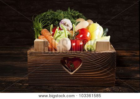 Seasonal Vegetable In Wooden Box.