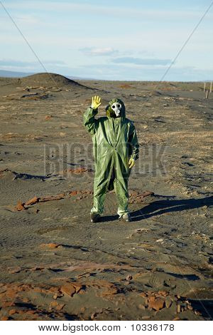 Strange Scientist In Overalls And Gas Masks