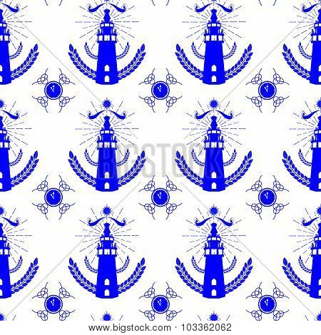 Seamless Pattern With Lighthouse In Dutch Tile Style Blue