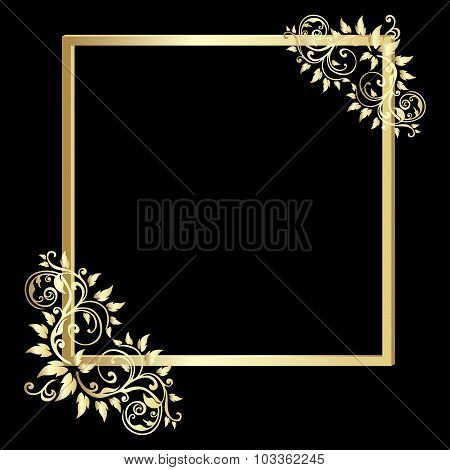 Vintage  Gold Frame On Black Background