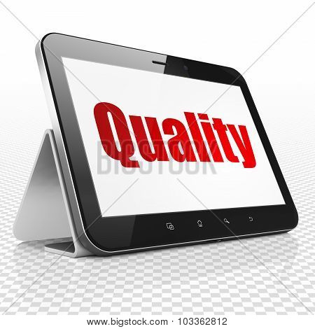 Marketing concept: Tablet Computer with Quality on display