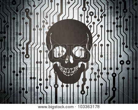 Health concept: circuit board with Scull