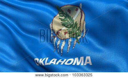 US state flag of Oklahoma waving in the wind with high quality texture