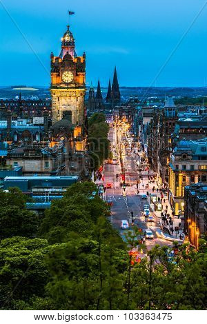 Night view over Edinburgh
