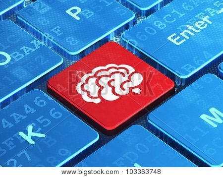 Healthcare concept: Brain on computer keyboard background