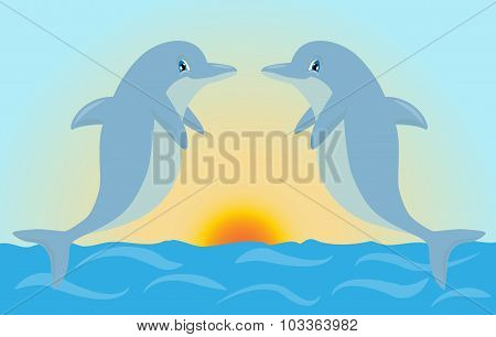 Pair Of Cute Cartoon Dolphins Playing In The Sunset Light. Vector Illustration Suitable For Invitati