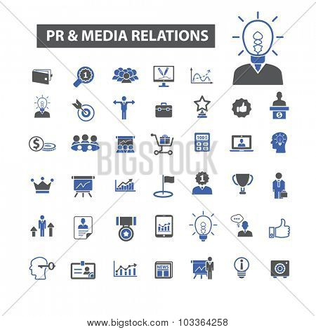 pr, public relations and media, marketing icons