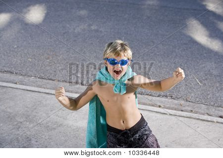 Superhero Flexes His Muscles