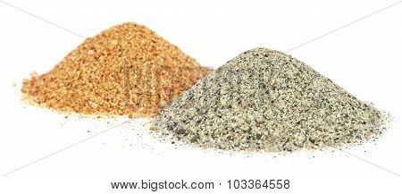 Piles Of Two Colors Sand For Construciton