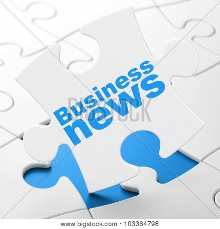 News concept: Business News on puzzle background