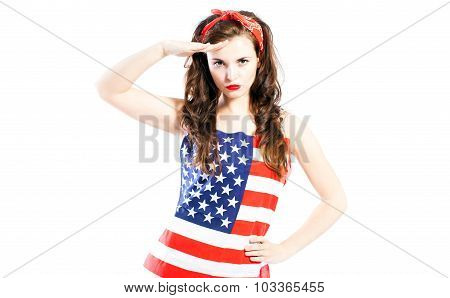 Pin Up Girl Wrapped In American Flag Saluting