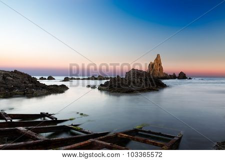 Sea after sunset at Cabo del Gata, Almeria, Spain