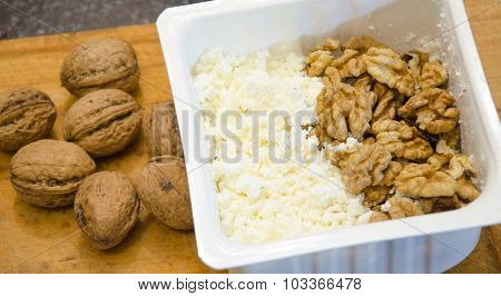Tasty Curd Cheese And Nuts  Healthy Food