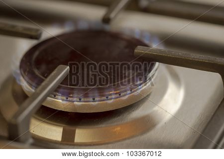 Bluish Flames Of A Stove Natural Gas Burner