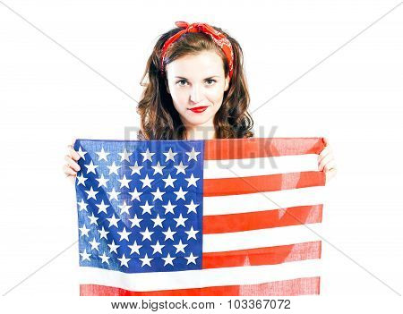 Pin Up Girl Posing With American Flag