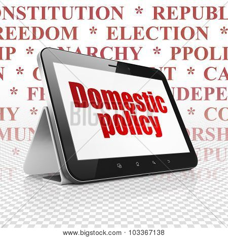 Politics concept: Tablet Computer with Domestic Policy on display
