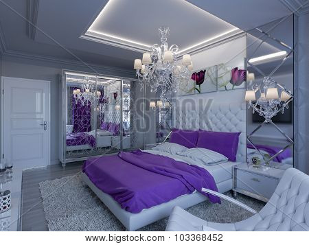 3D Rendering Bedroom In Gray And White Tones With Purple Accents