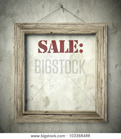 Sale In Old Wooden Frame On Wall