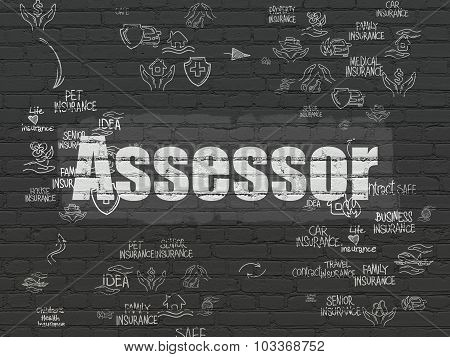 Insurance concept: Assessor on wall background