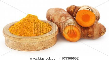 Turmeric Over White Background
