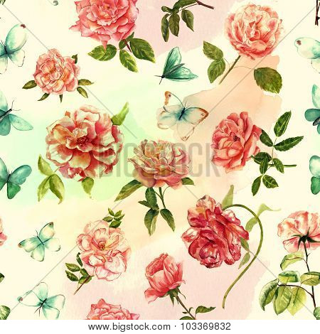 Tender Watercolor Roses And Butterflies Seamless Background Pattern, Toned