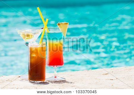 Cocktails  On Blue Background