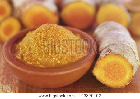 Raw Turmeric Paste In A Bowl