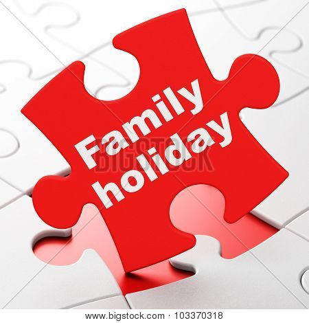 Tourism concept: Family Holiday on puzzle background