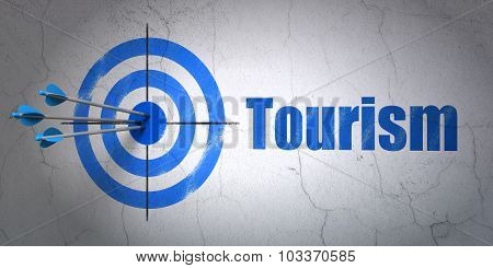 Tourism concept: target and Tourism on wall background