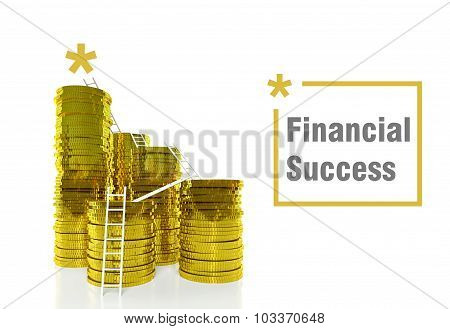Way To Financial Success Concept, Ladders On Coins