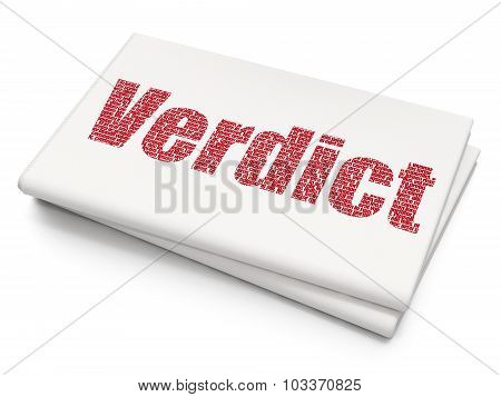 Law concept: Verdict on Blank Newspaper background