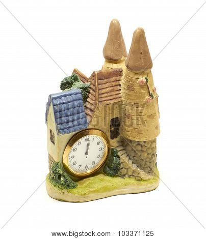 Clay Figurine Of Castle With Clock