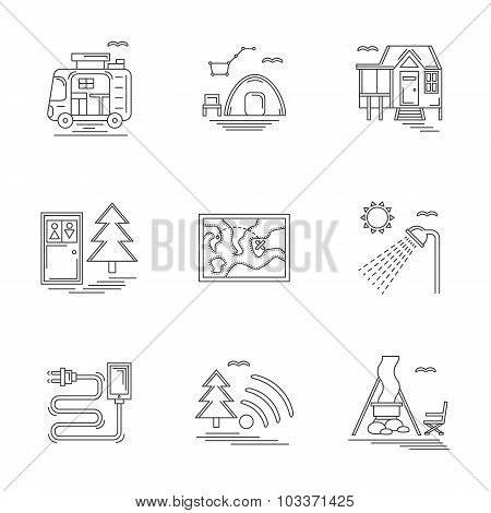 Linear vector icons set for camping