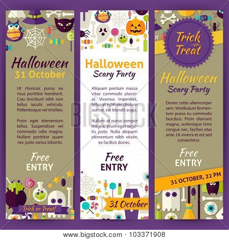 Trick Or Treat Halloween Party Invitation Vector Template Flyer Set