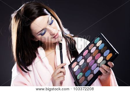 Woman In Bathrobe, Make Up Palette