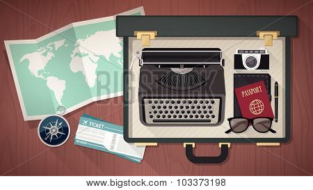 Reporter's Suitcase With Typewriter