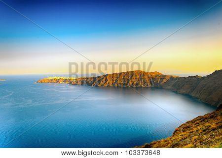 Seascape on Santorini island caldera
