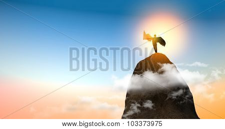 man with wings on the mountain