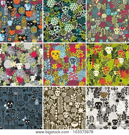 Set of floral seamless patterns with funny skulls.