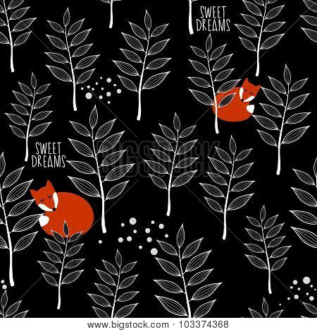 Seamless pattern with sleeping fox and winter forest.