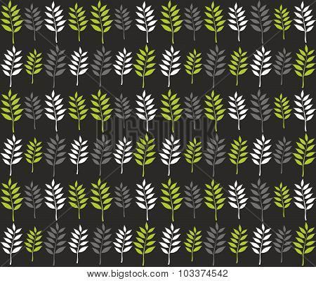 Seamless pattern with spring leaves in line.