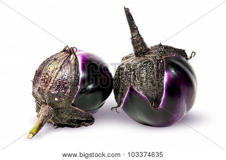 Supine And Standing Round Ripe Eggplants