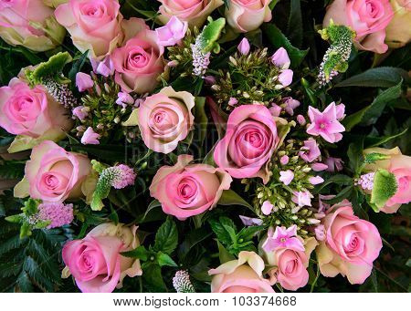 Mixed Boquet With Pink Roses